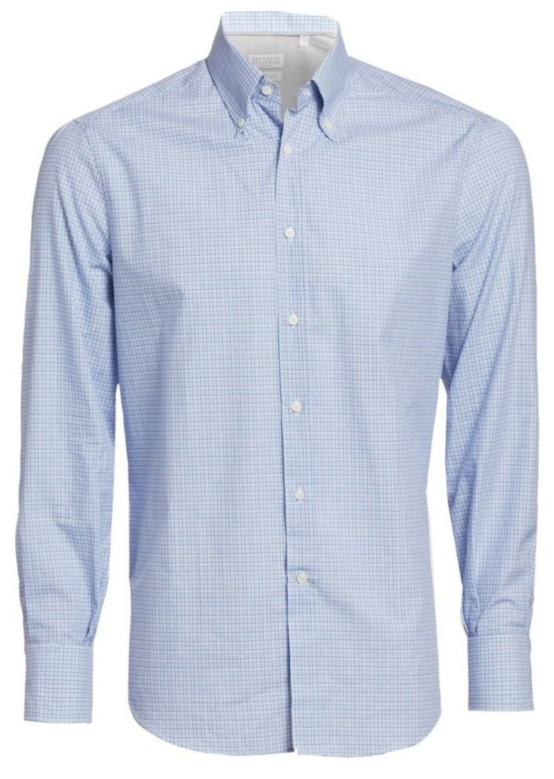 Brunello Cucinelli Mini Check Cotton Shirt