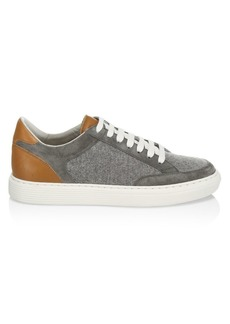 Brunello Cucinelli Mixed Media Leather & Wool Sneakers