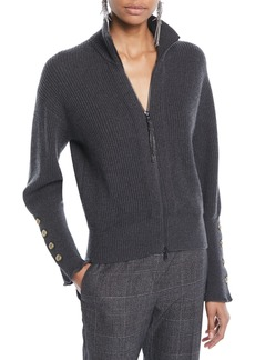 Brunello Cucinelli Mock-Neck Zip-Front Ribbed Cashmere Jacket w/ Brass Buttons on Cuff