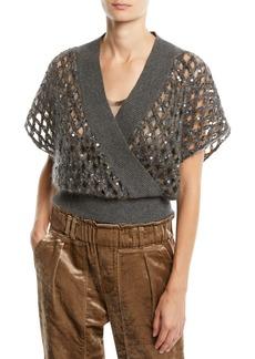 Brunello Cucinelli Mock-Wrap Window Pane Paillette Pullover Sweater