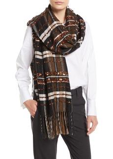 Brunello Cucinelli Mohair-Alpaca Plaid Blanket Scarf w/ Paillettes