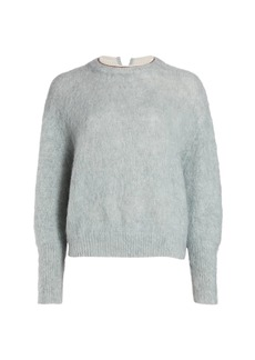 Brunello Cucinelli Mohair-Blend Crewneck Embellished Knit Sweater