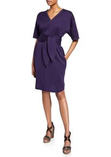 Brunello Cucinelli Monili-Beaded 1/2-Sleeve Cotton Wrap Dress