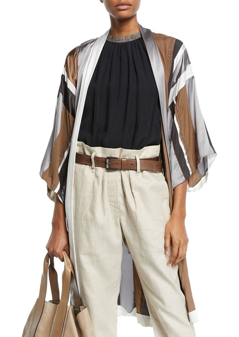 Brunello Cucinelli Monili-Beaded Belted Striped-Silk Kimono Cardigan