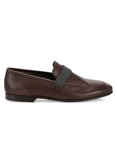 Brunello Cucinelli Monili-Strap Leather Loafers