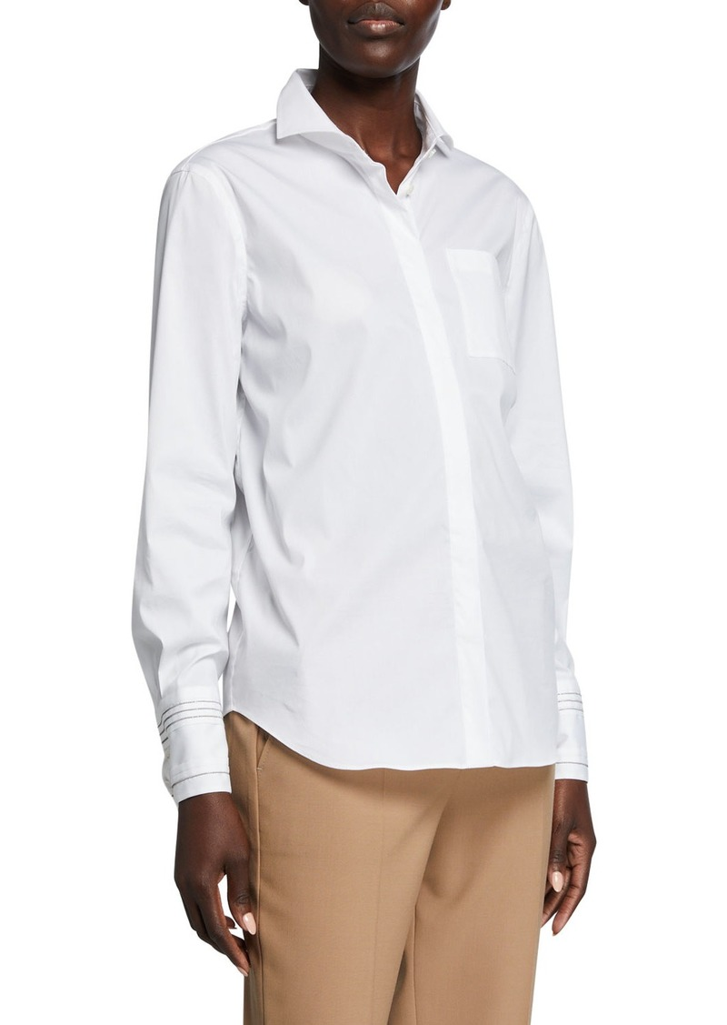 Brunello Cucinelli Monili-Striped Cuff Poplin Shirt