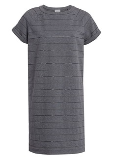 Brunello Cucinelli Monili Striped Jersey T-Shirt Dress