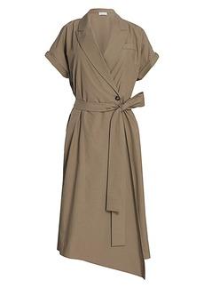 Brunello Cucinelli Monili-Tab Sleeve Belted Wrap Dress