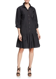 Brunello Cucinelli Monili Trim Drop-Waist Crinkle Cotton Shirtdress