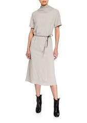 Brunello Cucinelli Monili-Trim High-Neck Silk Dress