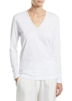Brunello Cucinelli Monili-Trim V-Neck Long-Sleeve Tee