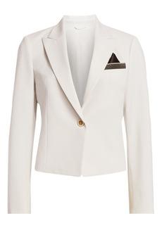 Brunello Cucinelli Monili-Trimmed Cropped Wool-Blend Blazer