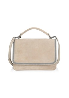 Brunello Cucinelli Monili-Trimmed Suede Crossbody Bag