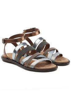 Brunello Cucinelli Multi Strap Embellished Leather Sandals
