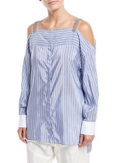 Brunello Cucinelli Off-the-Shoulder Striped Long-Sleeve Tunic with Monili Straps