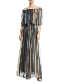 Brunello Cucinelli Off-The-Shoulder Striped Organza Gown