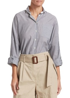 Brunello Cucinelli Oversize Striped Button-Down Shirt