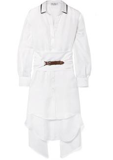 Brunello Cucinelli Oversized Belted Embellished Silk-twill Shirt