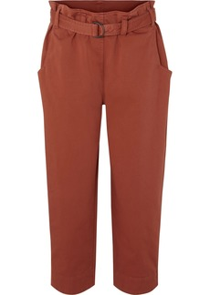 Brunello Cucinelli Oversized Cropped Belted Cotton-blend Pants