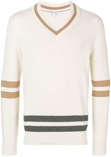 Brunello Cucinelli panel v-neck jumper