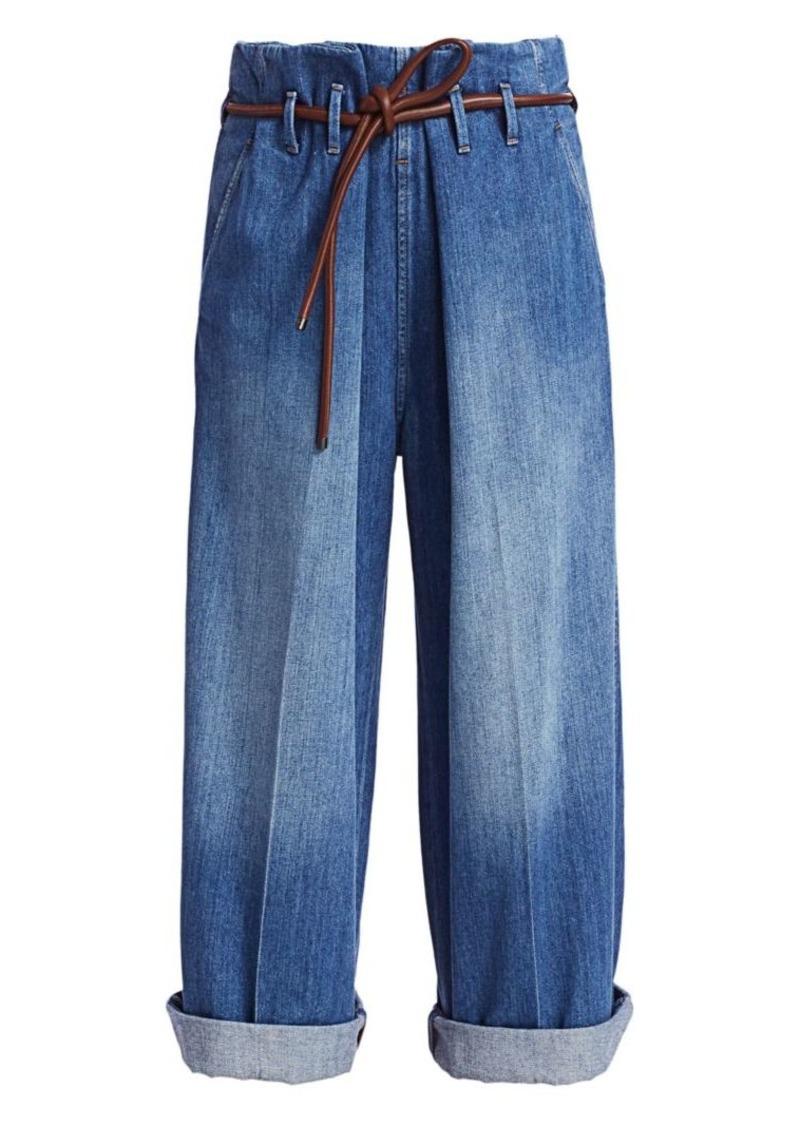 Brunello Cucinelli Paperbag Wide-Leg Jeans
