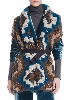 Brunello Cucinelli Peacock Folkloric Paillette Cap-Sleeve Cashmere Chunky-Knit Cardigan w/ Belt