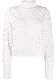 Brunello Cucinelli perforated knit roll-neck jumper