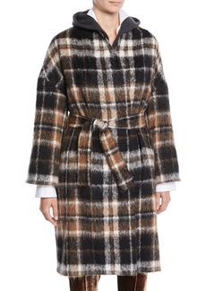 Brunello Cucinelli Plaid Alpaca-Blend Coat w/ Belted Waist