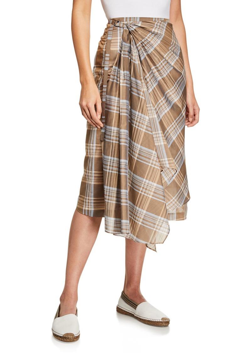 Brunello Cucinelli Plaid Cotton-Silk Wrap Skirt