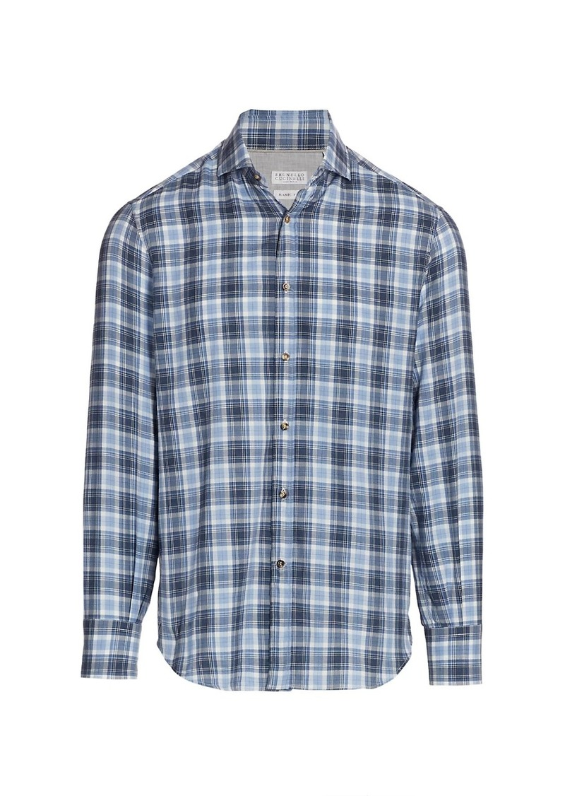 Brunello Cucinelli Plaid Sport Shirt