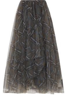 Brunello Cucinelli Checked Tulle Midi Skirt