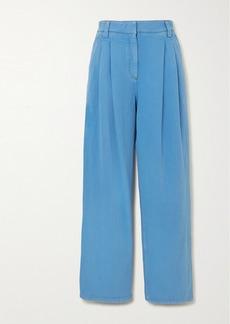 Brunello Cucinelli Pleated Denim Straight-leg Pants