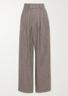 Brunello Cucinelli Pleated Houndstooth Linen, Wool And Silk-blend Wide-leg Pants