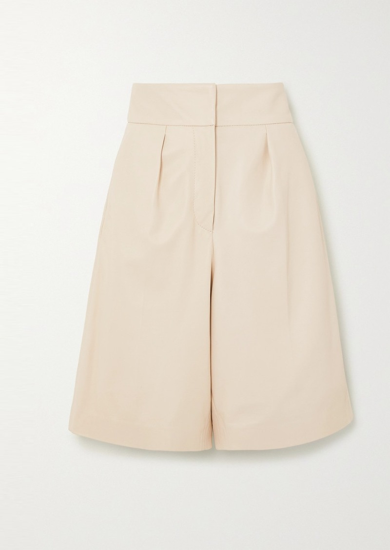 Brunello Cucinelli Pleated Leather Shorts