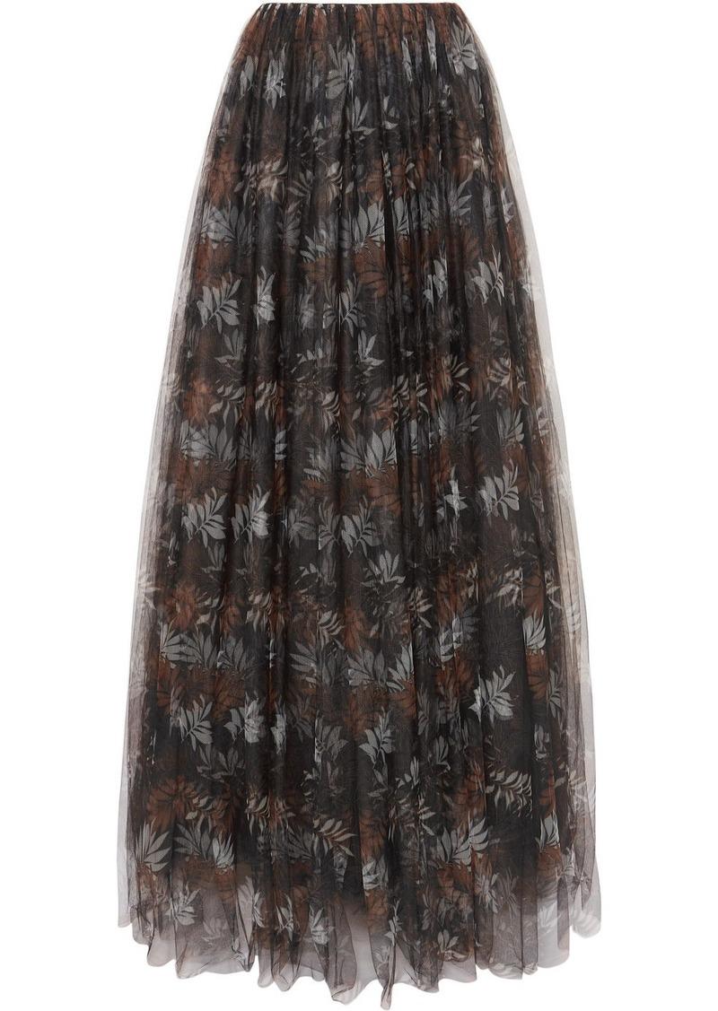 Brunello Cucinelli Pleated Printed Tulle Maxi Skirt