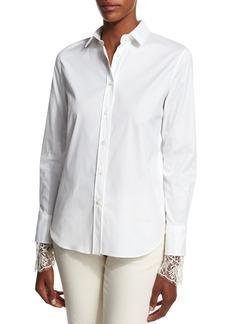 Brunello Cucinelli Poplin Blouse w/Scalloped Lace Cuffs  White