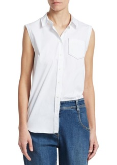 Brunello Cucinelli Poplin Cotton Stretch Short Sleeve Shirt
