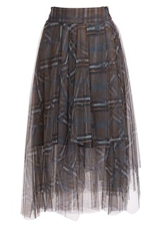 Brunello Cucinelli Printed Check Asymmetric Tulle Skirt