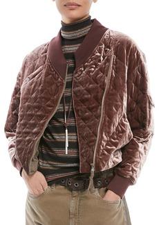 Brunello Cucinelli Quilted Velvet Asymmetrical-Zip Jacket