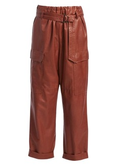 Brunello Cucinelli Relaxed-Fit Belted Soft Leather Cargo Pants