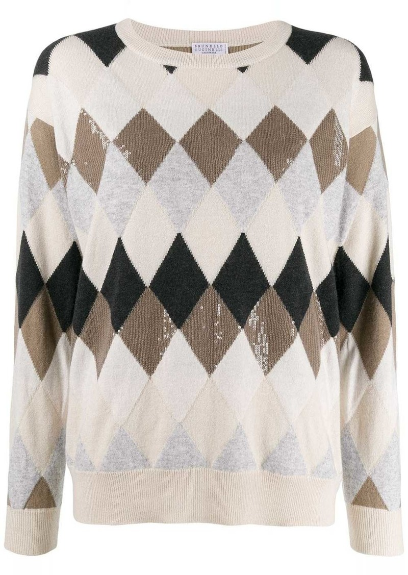Brunello Cucinelli relaxed-fit patterned jumper