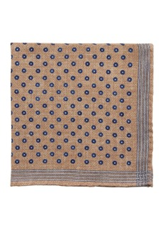 Brunello Cucinelli Reversible Open Circle Wool Pocket Square
