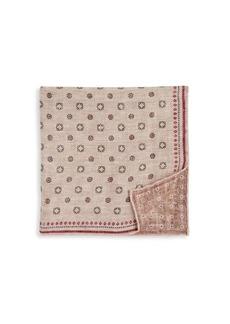 Brunello Cucinelli Reversible Print Woven Pocket Square