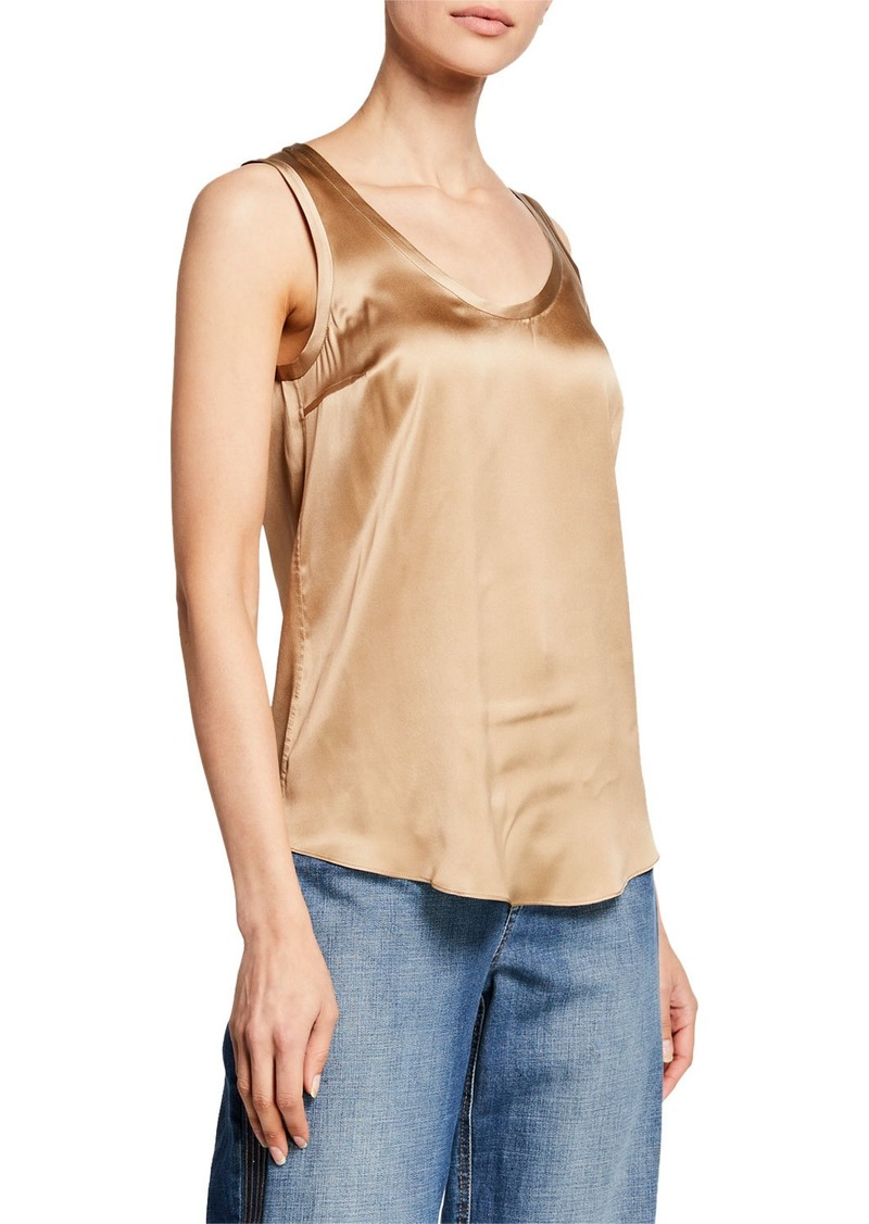 Brunello Cucinelli Reversible Silk-Stretch Satin Scoop-Neck Tank Top