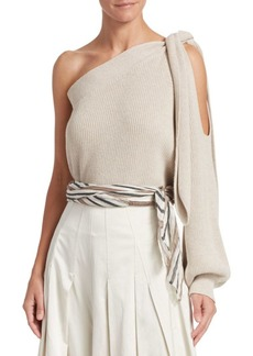 Brunello Cucinelli Ribbed Cotton One-Shoulder Top