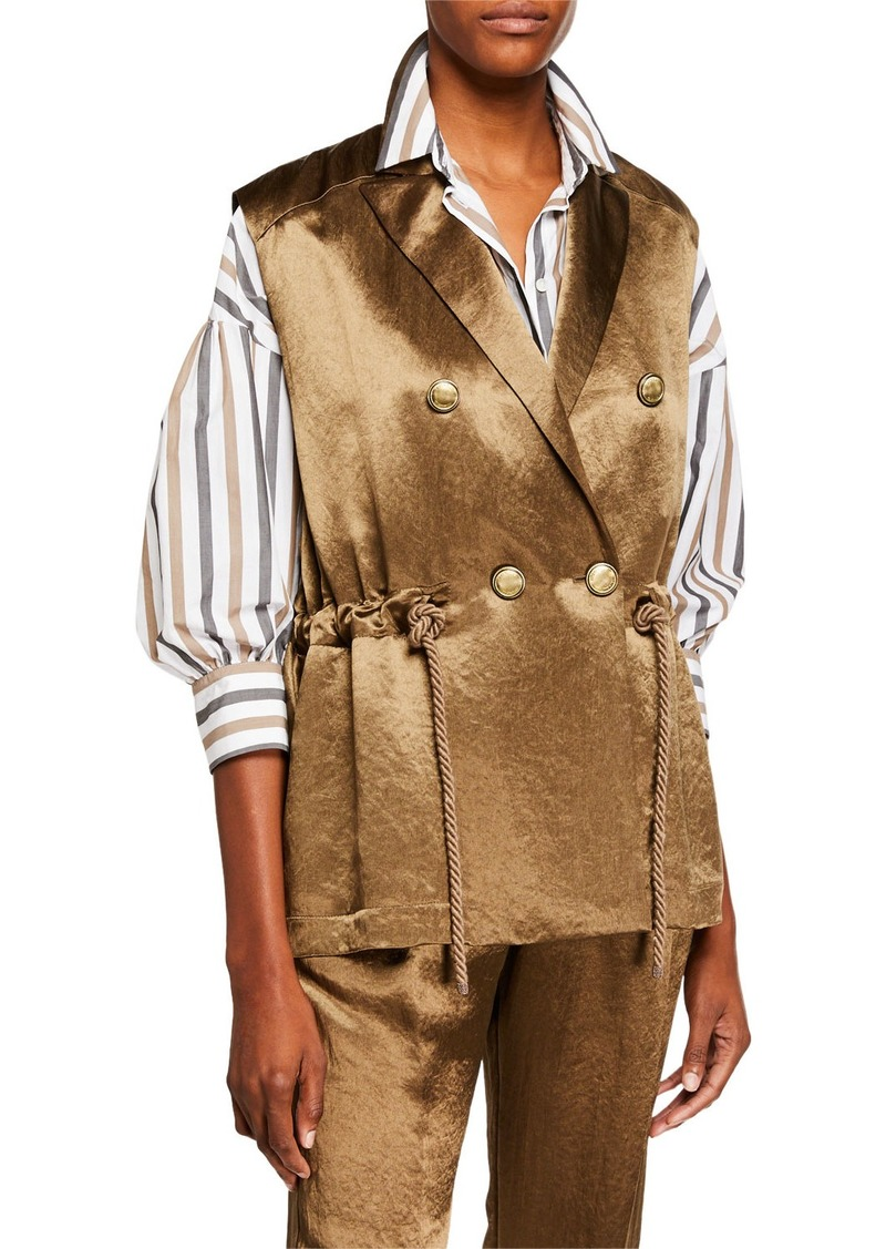Brunello Cucinelli Rope-Belted Textured Satin Vest