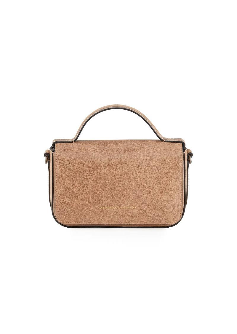 Brunello Cucinelli Rustic Leather Top Handle Satchel Bag