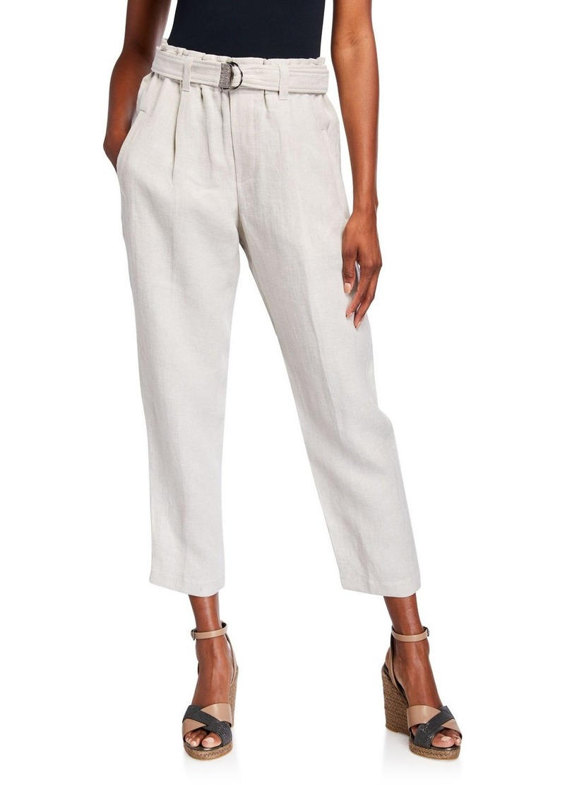 Brunello Cucinelli Rustic Linen Crop Pants with Monili D-Ring Belt