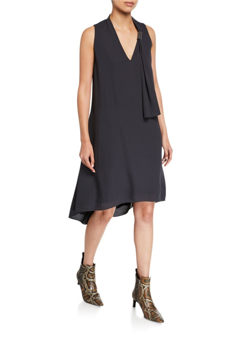 Brunello Cucinelli Scarf-Neck Silk High-Low Cocktail Dress