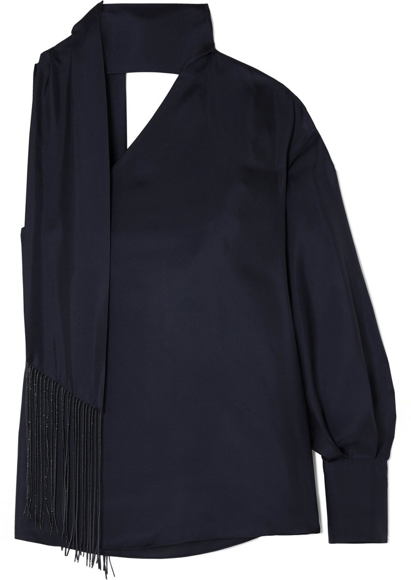 Brunello Cucinelli Scarf-trimmed Silk-twill Blouse